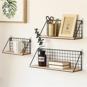 Étagère murale en fer et bois pour bureau et maison, organisateur décoratif pour la chambre à coucher, support de rangement pour bureau bricolage
