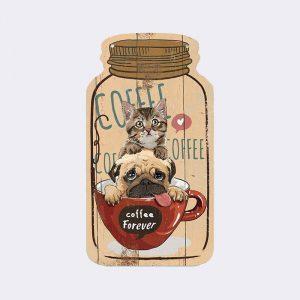 decoration murale bois chien chat