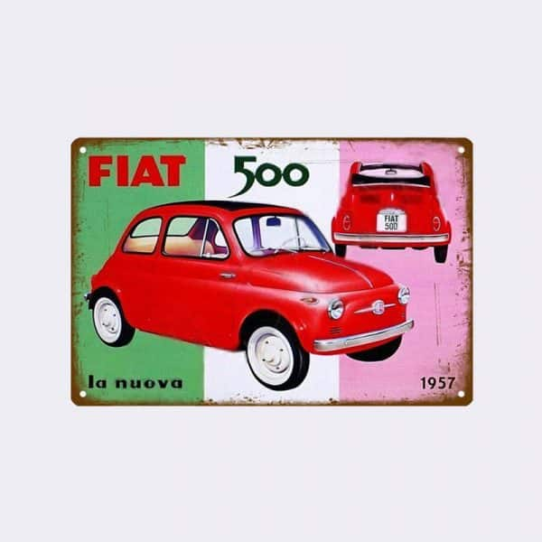 plaque emaillee fiat 500 italie