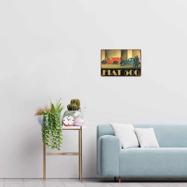 plaque emaillee fiat 500 decors