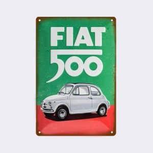 plaque emaillee fiat 500