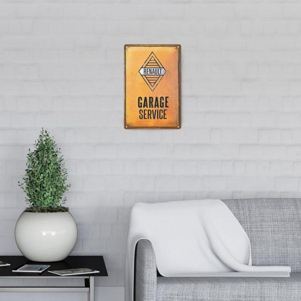 plaque emaillee garage renault