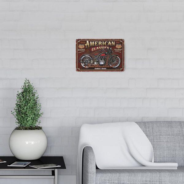 plaque emaillee moto americaine
