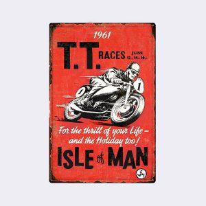 plaque emaillee moto racing TT