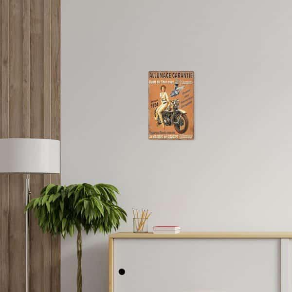plaque emaillee moto retro decors