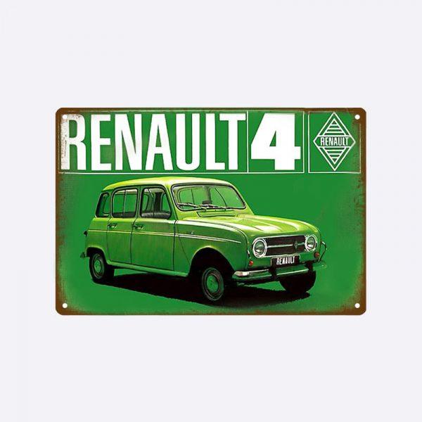 plaque emaillee renault 4 1 1   Plaque Émaillée Automobile Renault 4 de 1961