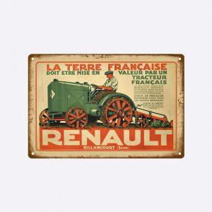 plaque emaillee tracteur renault