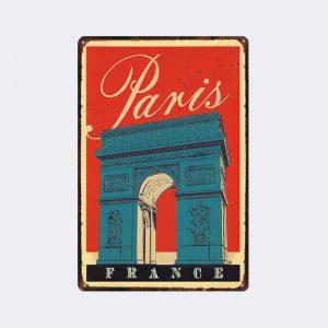 plaque métal vintage paris arc de triomphe