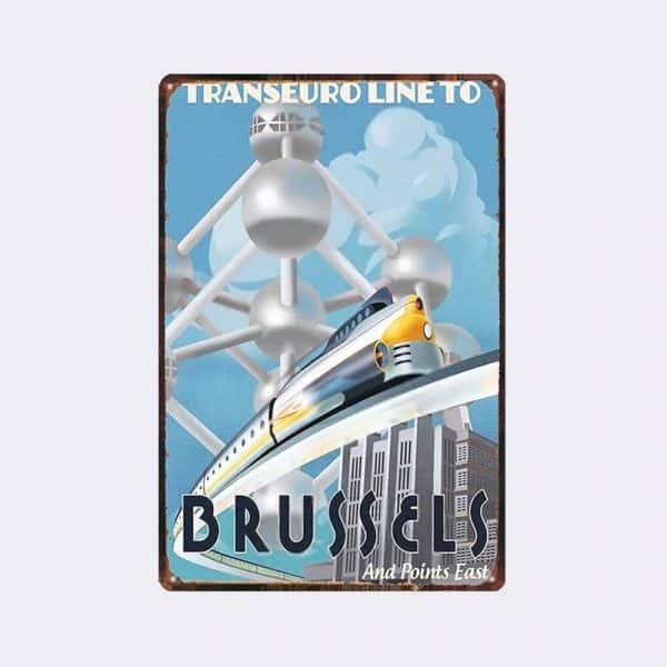 plaque métal vintage Bruxelles train