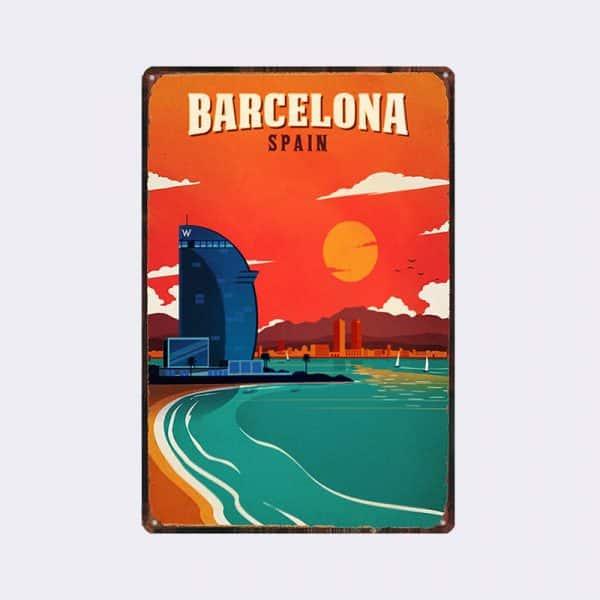 Plaque Métal Vintage Barcelone