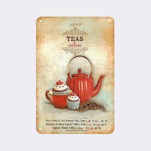 plaque métal vintage thé