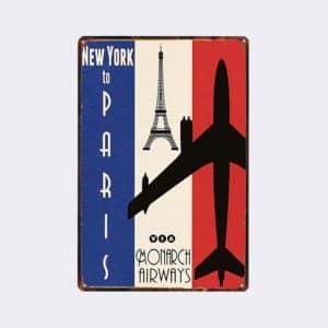 plaque métal vintage paris newyork