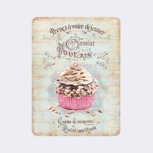 plaque métal vintage chocolat poulain