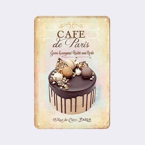 plaque metal vintage dessert chocolat