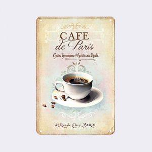 plaque metal vintage cafe de paris