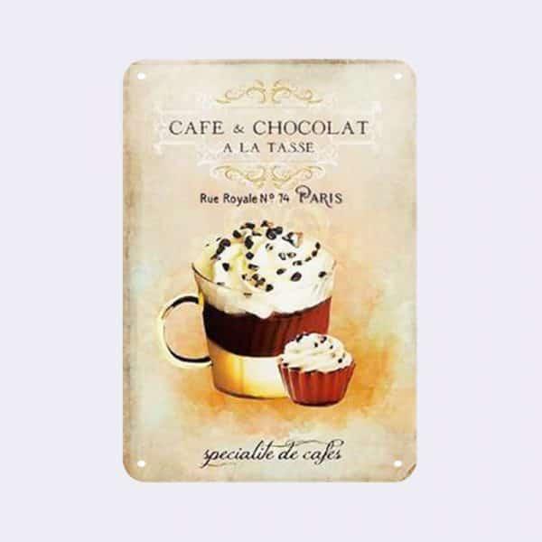 plaque metal vintage cafe et chocolat
