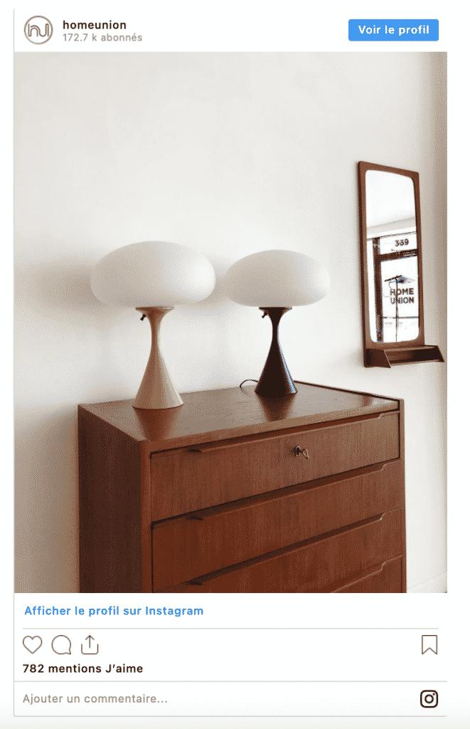 compte instragram décoration vintage décoration meuble lampes