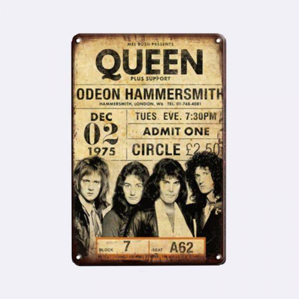 plaque métal vintage queen